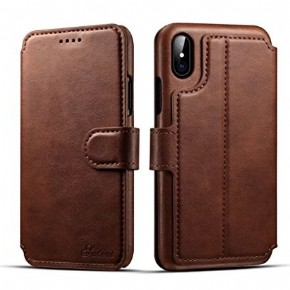 Azuri walletcase with cardslots and money pocket - brown - for iPhone X
