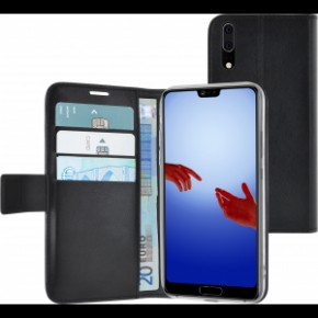 Azuri walletcase with magnetic closure for Huawei P20, Black