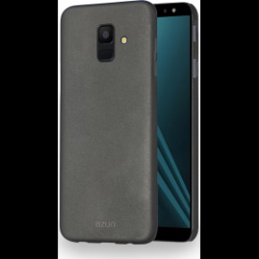 Azuri metallic cover with soft touch coating - black - Samsung A6 (2018)