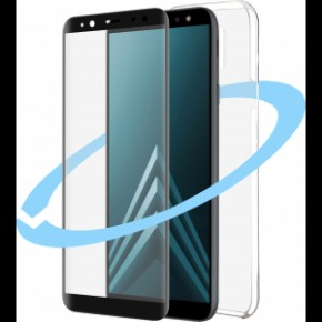 Azuri Front&Back protection pack - flat black frame - for Samsung A6 (2018)