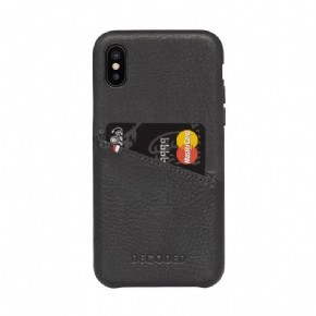 Leather Detachable Wallet with Back Cover - black - for iPhone XR